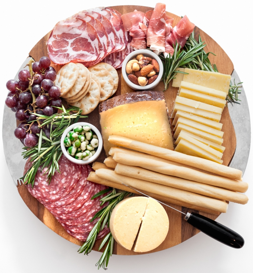 Create-a-gorgeous-cheese-platter-for-summer-entertaining-with-salami-breadsticks-assorted-cheeses